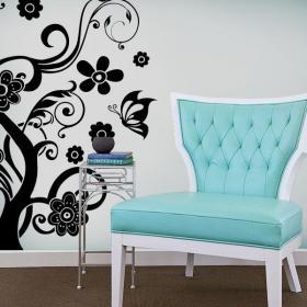 Vinyl decorative tree and butterflies