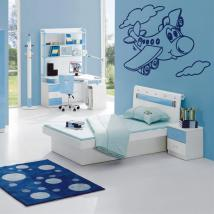 Vinyl decorative airplane in the clouds