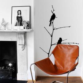Vinyl decorative birds on branch
