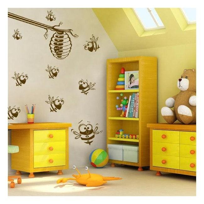 Decorative vinyl bees and honeycomb
