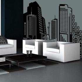 Vinyl decorative city of the future