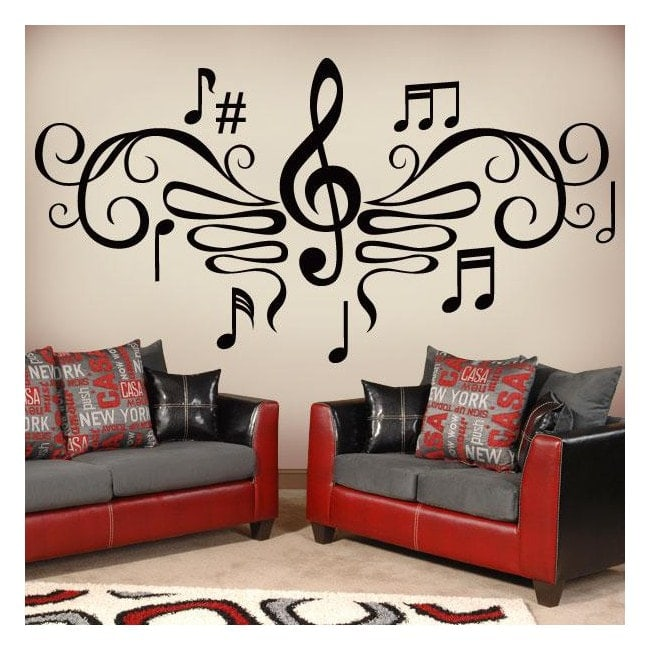 Decorative vinyls musical filigree for Stickers para dormitorios