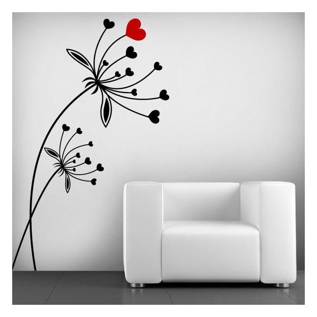 Decorative vinyl heart flowers