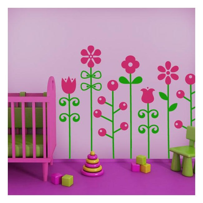 Luminescent panels dividing fluowall Bicolor flowers