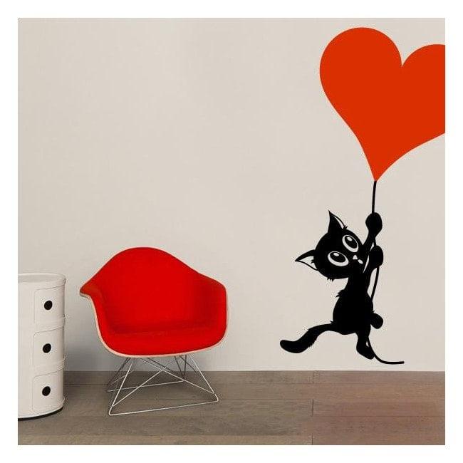Decorate walls romantic cat