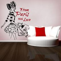 Decorative vinyl woman Paris Freehand illustration