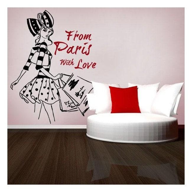 Decorative vinyl woman Paris Freehand illustration
