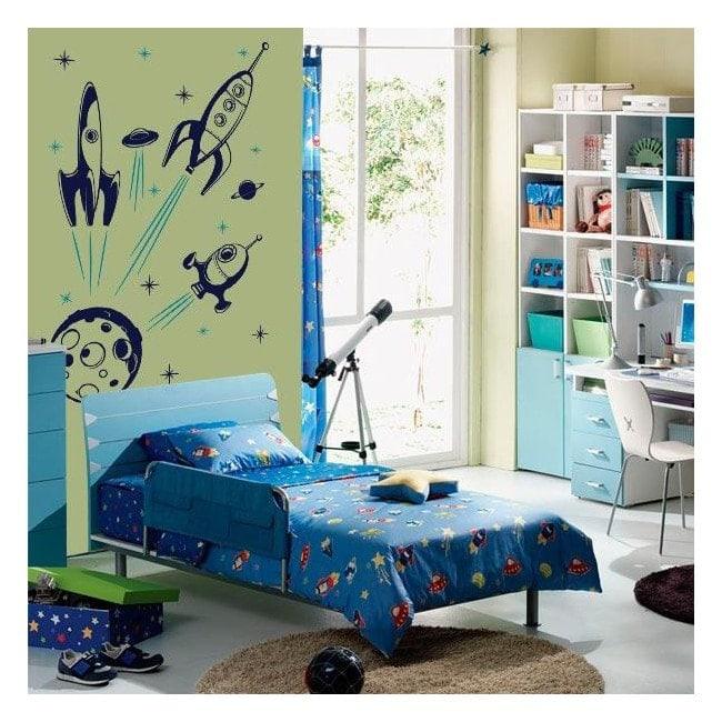 Decorative vinyl children's spaceships