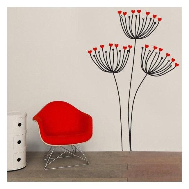 Decorative vinyl flowers hearts