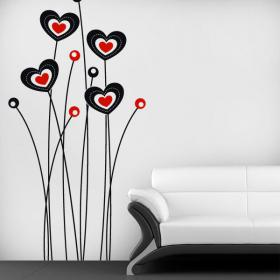 Vinyl decorative flowers of the heart