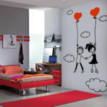 Luminescent panels dividing fluowall romantic love in the clouds