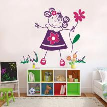 Children's decorative vinyl girl with flowers