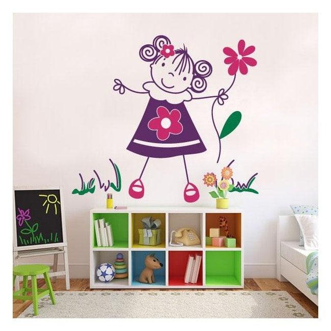 Children's decorative vinyl girl with flowers