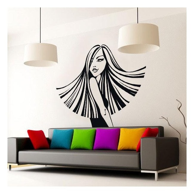 Decorative vinyl wall silhouette woman style