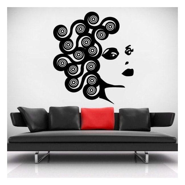 Decorative vinyl wall face of woman