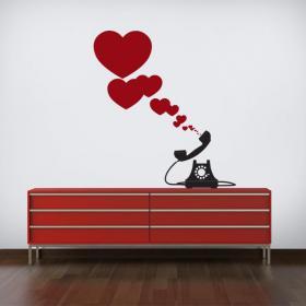Luminescent panels dividing fluowall romantic hearts phone