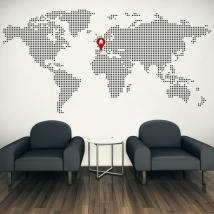 Decorative vinyl world map home