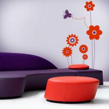 Decorative vinyl flowers and Butterfly
