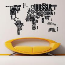 Decorative vinyl world map texts