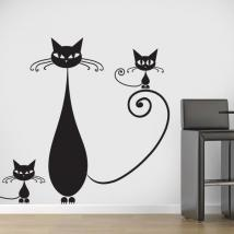 Decorative vinyl family of cats English 729
