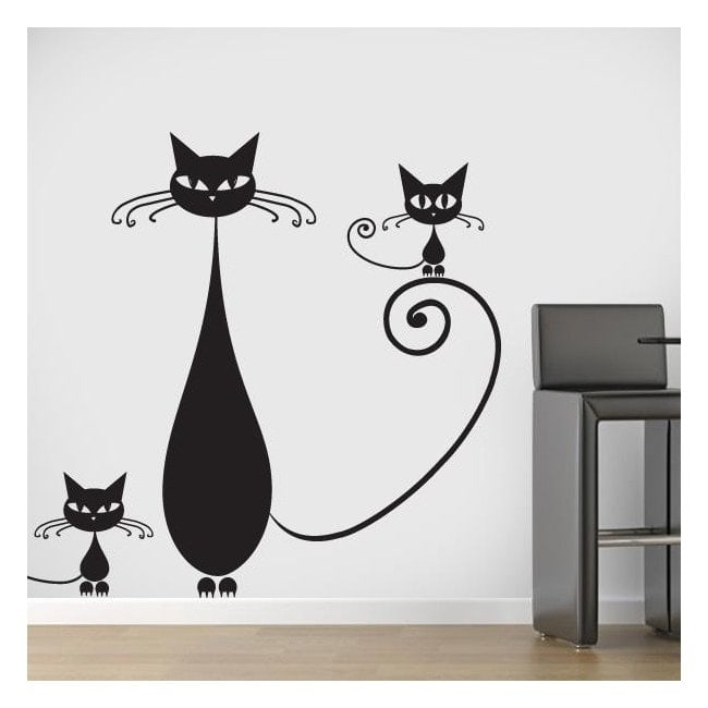 Decorative vinyl family of cats English 729