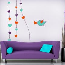 Decorative vinyl walls romantic hearts