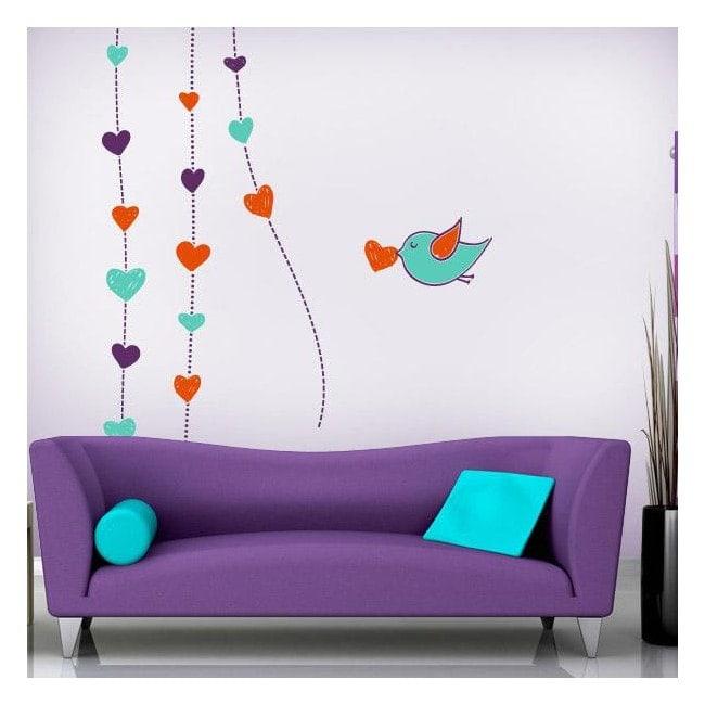 Decorative vinyl walls romantic hearts