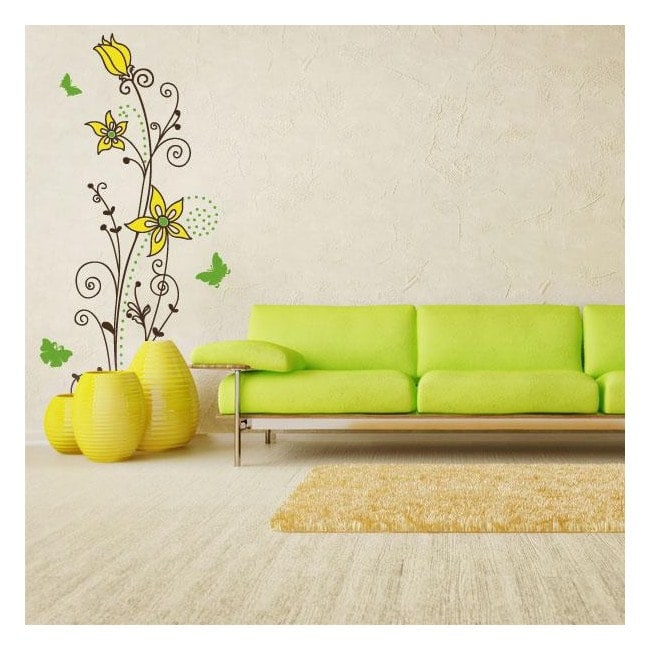 Color flowers wall stickers