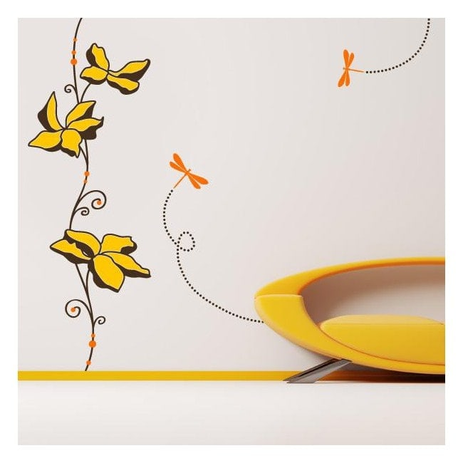 Decorative vinyl wall flowers and dragonflies