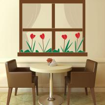 Decorative vinyl window with flowers English 791