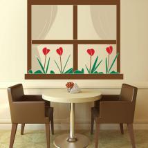 Decorative vinyl window with flowers English 791