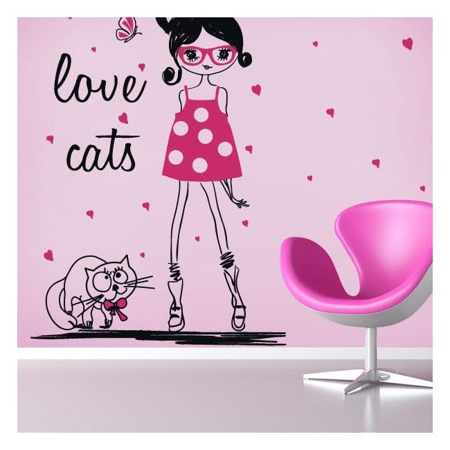 Vinyl silhouette woman Love Cats