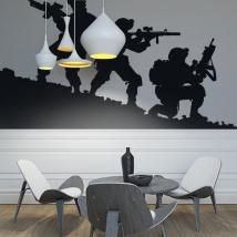Luminescent panels dividing fluowall military silhouettes