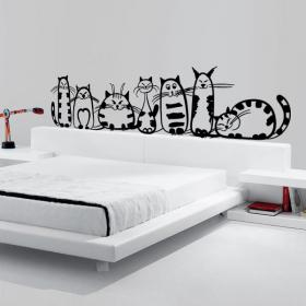 Decorative vinyl family of cats