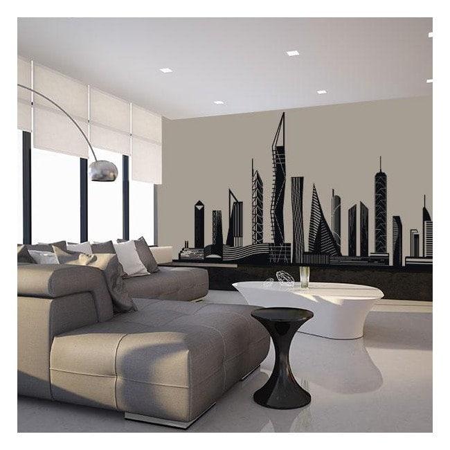 Luminescent panels dividing fluowall city Skyline