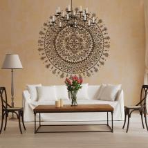 Luminescent panels dividing fluowall Hindu rosette