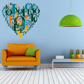 Decorative vinyl texts heart Love