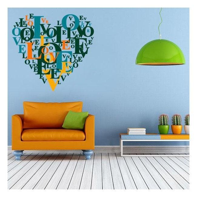 Decorative vinyl texts heart Love