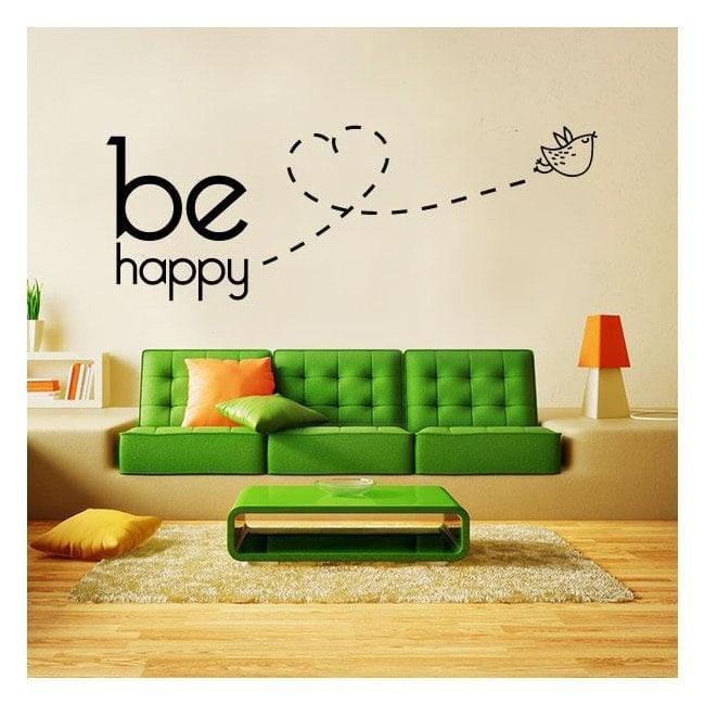 Decorative vinyl texts and phrases Be Happy