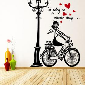 Decorative vinyl romantic women bike