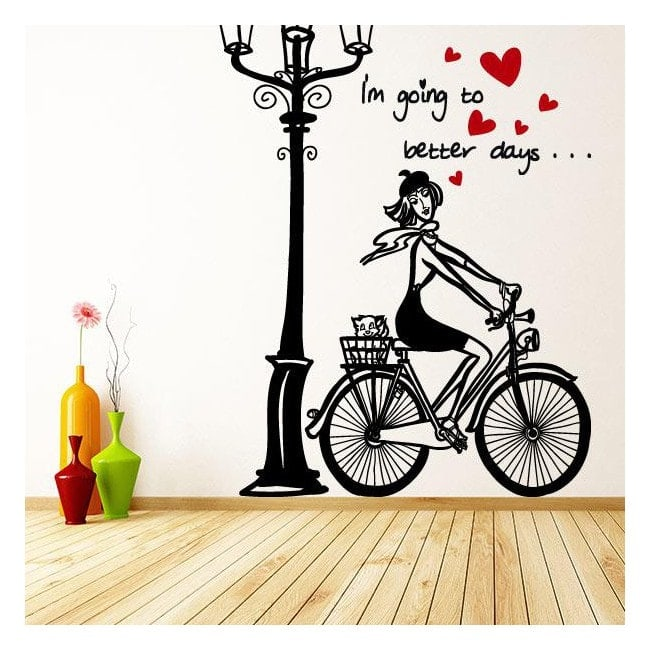 Decorative vinyl romantic women bike English 913