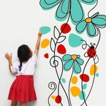 Decorative vinyl flowers and ladybugs