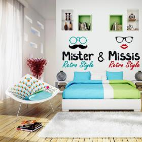Vinyl decorative headboards bed Mr and Missis