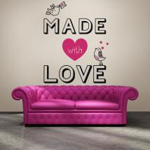 Luminescent panels dividing fluowall romantic text Made With Love