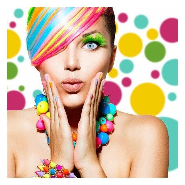 Adhesive decorative vinyl circles of colors