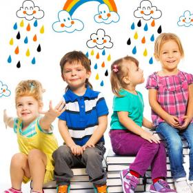 Children's vinyl clouds and rain of colors