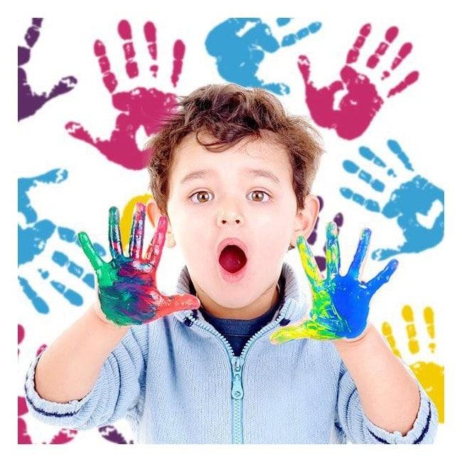 Decorative vinyl hands painting colors
