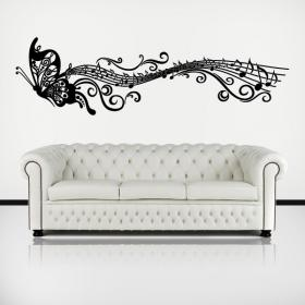 Musical Butterfly adhesive decorative vinyl
