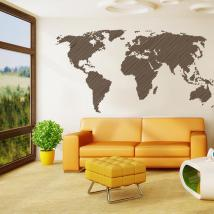 Vinyl adhesive decorative world map lines