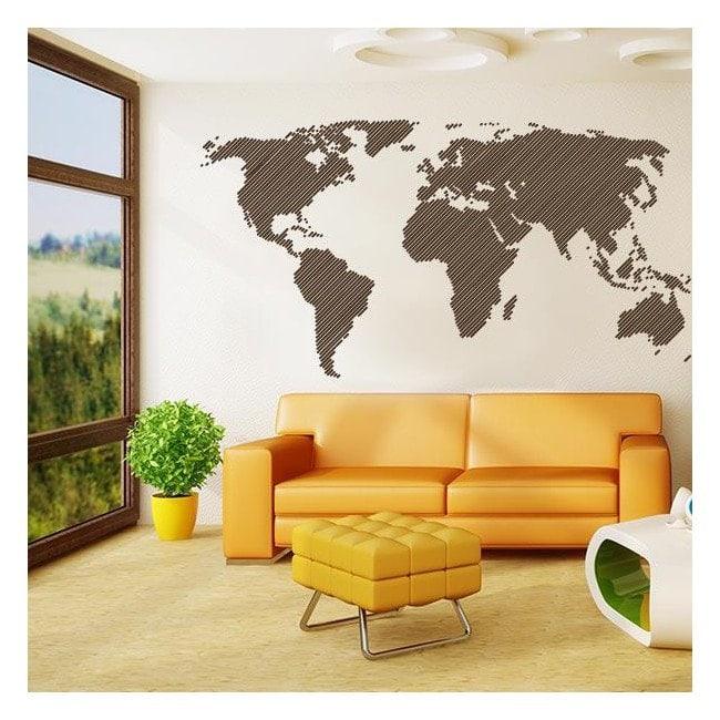 Vinyl adhesive decorative world map lines